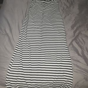 Long strip halter maxi dress